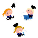 Cute graduation Kids collection. Royalty Free Stock Images