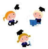 Cute graduation Kids collection. Happy graduation children set - vector cartoon illustration vector illustration