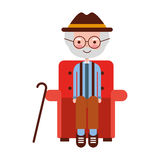 Cute grandfather in the sofa avatar character Royalty Free Stock Photo
