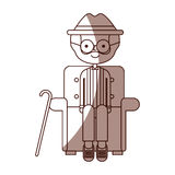 Cute grandfather in the sofa avatar character Royalty Free Stock Photos