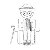 Cute grandfather in the sofa avatar character Stock Images