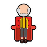 Cute grandfather in the sofa avatar character Royalty Free Stock Photography