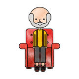 Cute grandfather in the sofa avatar character Stock Photo