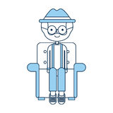 Cute grandfather in the sofa avatar character Stock Image