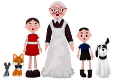 Grandmother grandchildren pets clipart cartoon style  illu Stock Photos