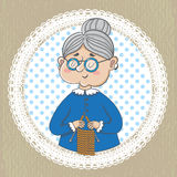 Cute grandmother with with  knitting Royalty Free Stock Photo