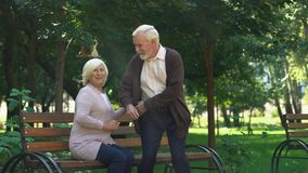 Cute grandparents admiring their grandchildren running in park, family weekend. Stock footage stock footage