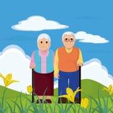 Cute grandparents couple cartoon Royalty Free Stock Image