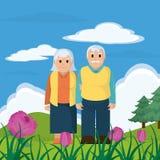 Cute grandparents couple cartoon Royalty Free Stock Photography
