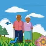 Cute grandparents couple cartoon Stock Photos