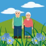 Cute grandparents couple cartoon Royalty Free Stock Images