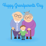 Cute grandparents with grandson. Happy Grandparent`s day. Family Stock Photo