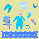 Cute Graphic for Baby Boy. Baby boy newborn lovely greeting card. Baby shower invitation template. Vector baby icons set Royalty Free Stock Images