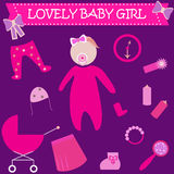 Cute Graphic for Baby Girl. Baby girl newborn lovely greeting card. Baby shower invitation template.  icons Stock Photo
