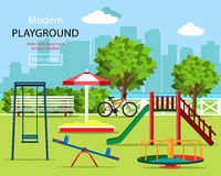 Cute graphic children playground set: swings, children`s slide, carousel, sandbox, bench, bicycle, trees and city background. Royalty Free Stock Photos