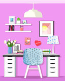 Cute graphic home office room interior with desk and chair. Flat style. Royalty Free Stock Image