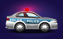 Cute graphic illustration of a police car in blue grey and black colors. Carefully designed graphic illustration with a police car in cartoon style stock illustration