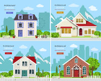 Cute graphic private houses with city landscape and stylish houses with rocky mountains backdrop. Homes set. Cute graphic private houses with city landscape and stock illustration
