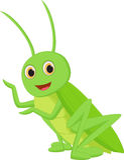 Cute grasshopper cartoon Stock Photos