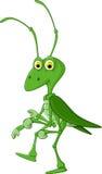 Cute grasshopper cartoon walking stock illustration