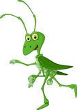 Cute grasshopper cartoon walking royalty free illustration