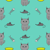 Cute gray cartoon cat. Bowl, fish bone, mouse toy. Funny smiling character. Contour Isolated. Seamless Pattern Blue background. Fl Stock Photography