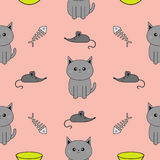 Cute gray cartoon cat. Bowl, fish bone, mouse toy. Funny smiling character. Contour Isolated. Seamless Pattern Pink background. Fl Stock Photo