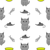 Cute gray cartoon cat. Bowl, fish bone, mouse toy. Funny smiling character. Contour Isolated. Seamless Pattern White background. F Royalty Free Stock Photography