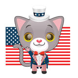 Cute gray cat as Uncle Sam. Cute gray cat dressed as Uncle Sam Stock Photos