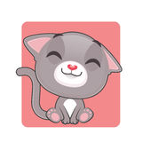 Cute gray cat being happy Royalty Free Stock Images