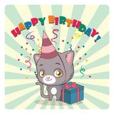 Cute gray cat celebrating birthday. Cute gray cat birthday greeting card Royalty Free Stock Photography