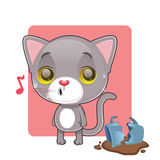 Cute gray cat feeling guilty. After breaking a mug Royalty Free Stock Images
