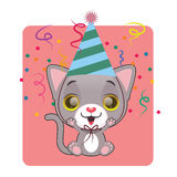 Cute gray cat in a festive mood. Cute gray cat being in a festive mood Stock Photography