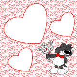 Cute gray cat with flowers. Frame with red heart. Valentine. Stock Image
