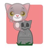 Cute gray cat ghost rising from grave. Halloween theme Royalty Free Stock Photos
