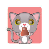 Cute gray cat holding a piece of meat. In their mouth Royalty Free Stock Photo