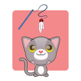 Cute gray cat jumping. To catch toy Stock Image