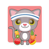 Cute gray cat with lots of fruits Royalty Free Stock Image