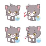 Cute gray cat moments. Funny comic with cute gray cat Stock Photo