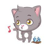 Cute gray cat pretending not to see the broken mug Royalty Free Stock Photos