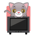Cute gray cat sitting on top of a television. Cute gray cat looking down and sitting on top of a television Royalty Free Stock Image