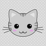 Cute Gray Kawaii Tabby Cat Stock Photo