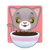 Cute gray kitten looking at food. Cute gray kitten looking at bowl full of food Stock Photography