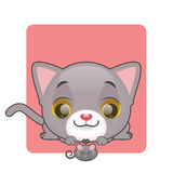 Cute gray kitten looking at a toy mouse. Cute gray curious kitten looking at a toy mouse Stock Photography