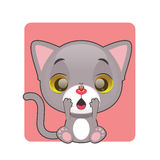 Cute gray kitten surprised. By ladybug Stock Images