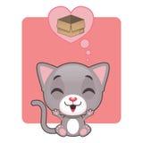 Cute gray kitten thinking of a box. Cute gray kitten thinking of their beloved box Stock Photography