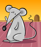 Cute gray mouse cartoon illustration Royalty Free Stock Photo