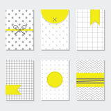 Cute gray and white trendy patterns cards set with yellow labels Stock Images
