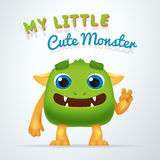 Cute Green alien beast character. My little cute monster typography. Fun Fluffy creature with victory gesture isolated Stock Photo
