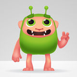 Cute green alien invader with silly smile and funny ears. Fluffy character isolated on light background for your kids Stock Image